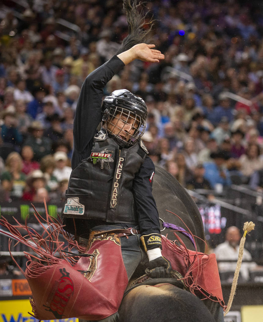 Dalton Kasel stays loose atop of Fearless during the final round on the last day of the PBR Wor ...