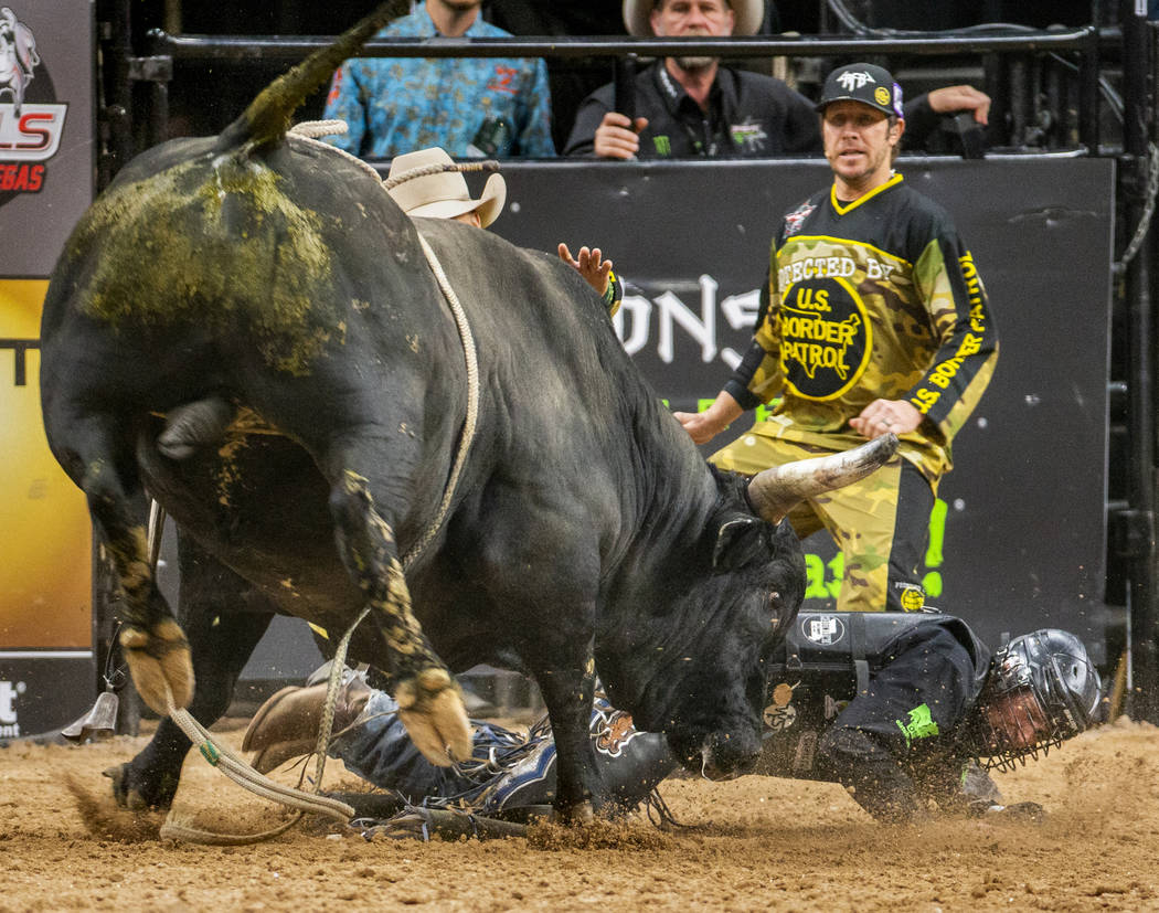 Jared Parsonage gets a horn while down from Talking Smack during the last day of the PBR World ...