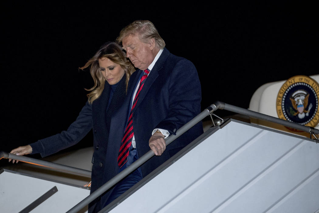 President Donald Trump and first lady Melania Trump arrive at John F. Kennedy International Air ...