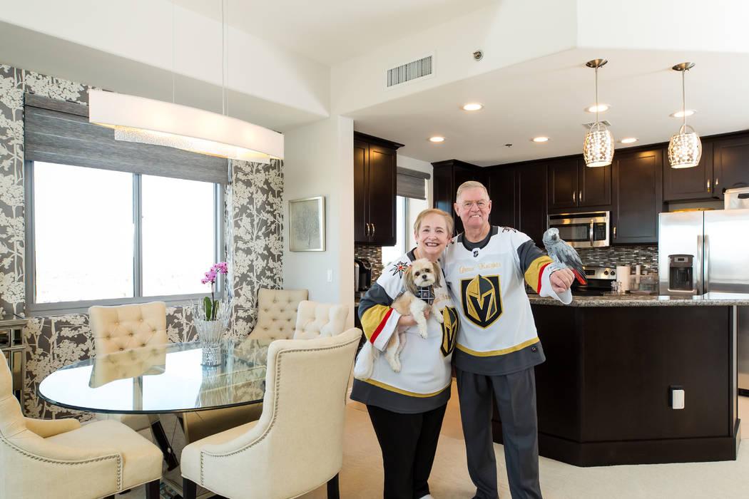 Janice and Gerald Pellar, avid Vegas Golden Knights fans and Baton Rouge natives, are loving li ...