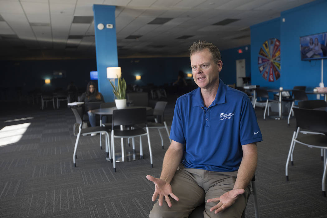 Randy Pagel, district director for Acceleration Academy, speaks to the Review-Journal at Accele ...