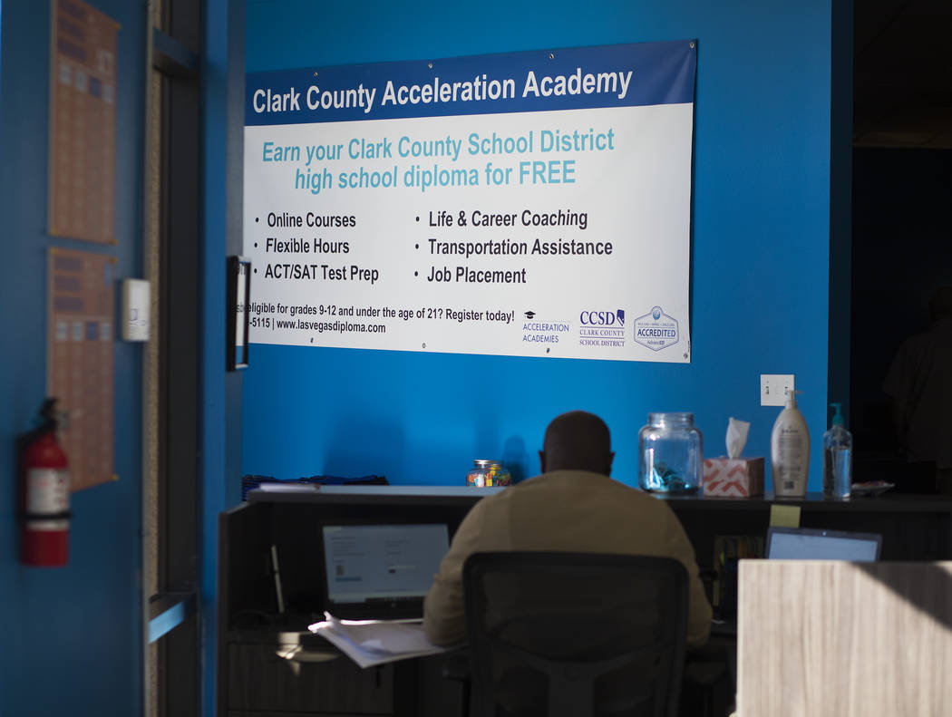 Acceleration Academy in Las Vegas, Sunday, Nov. 10, 2019. The school targets high school drop-o ...