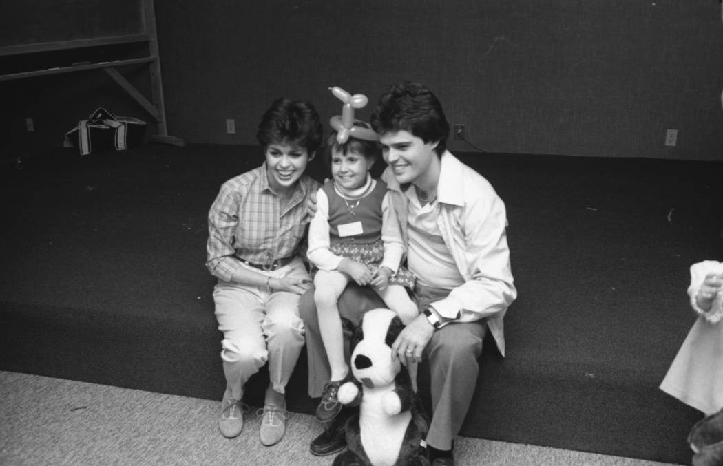 Marie and Donny Osmond pose for a photo during a 1980 visit to Sunrise Hospital. (Las Vegas Rev ...