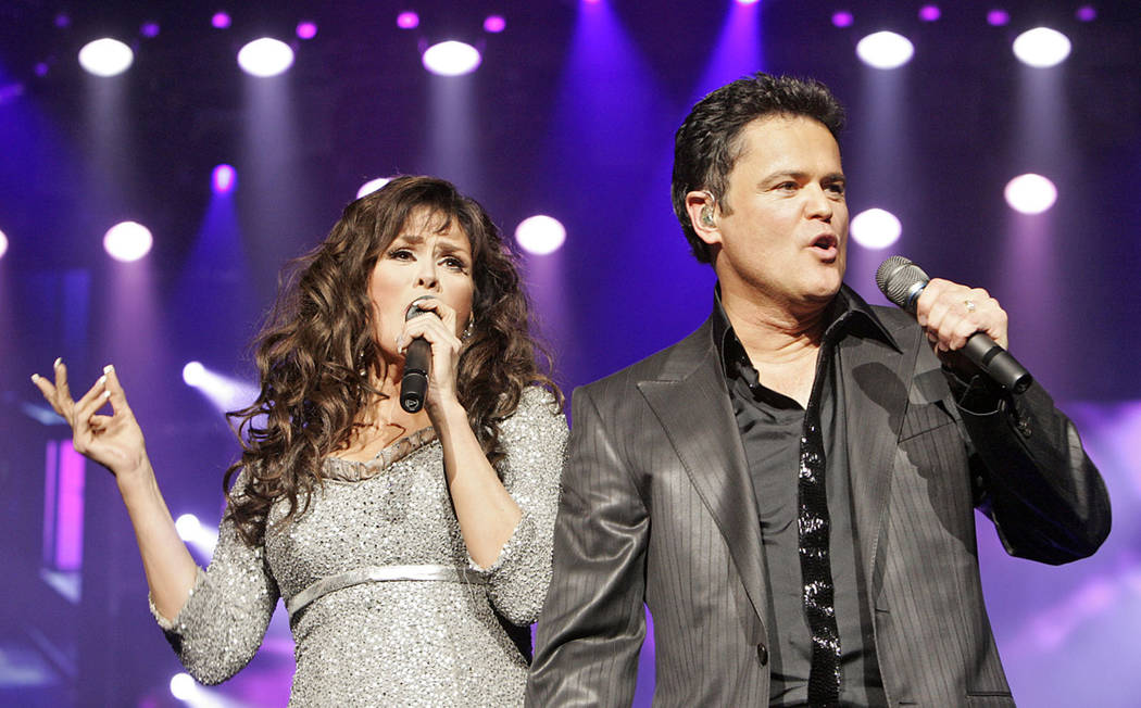 Marie Osmond and her brother, Donny, perform at the Flamingo hotel in Las Vegas Sept. 25, 2008. ...