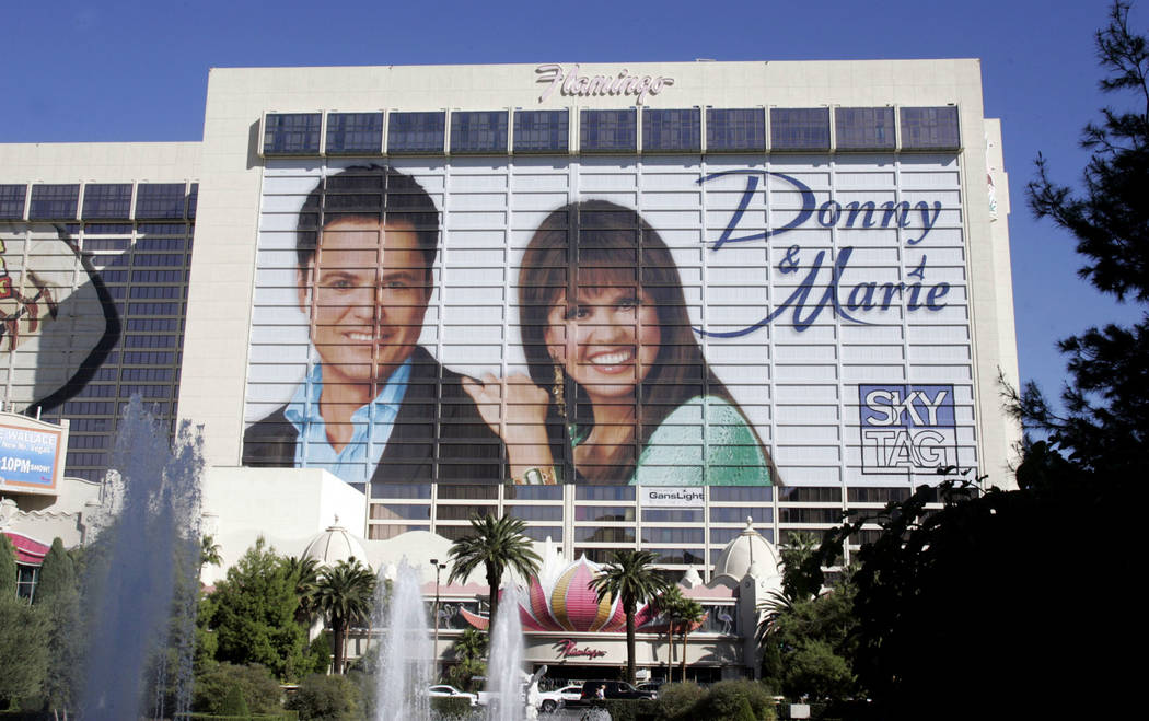 Donny and Marie Osmond are pictured on a building-sized banner on the Flamingo Oct. 20, 2008. ( ...