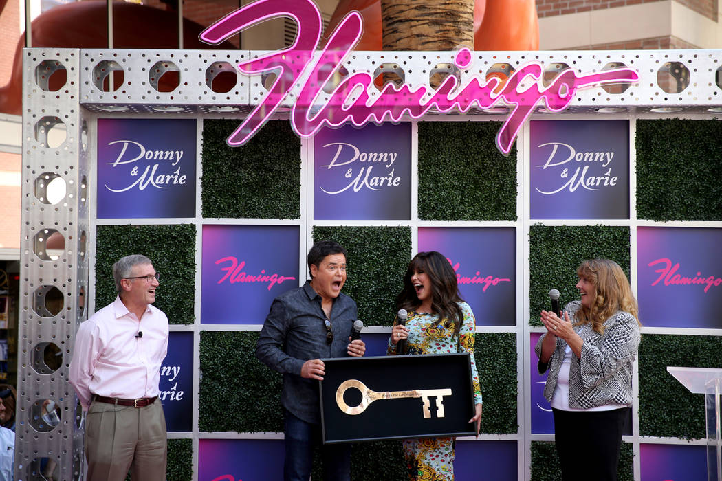 Donny and Marie Osmond receive a Key to The Las Vegas Strip as Caesars Entertainment CEO Tony R ...