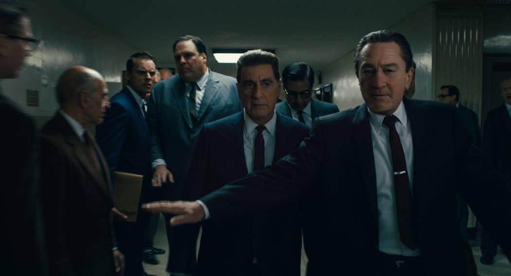 Frank Sheeran (Robert De Niro) is both defender and confidante to Jimmy Hoffa (Al Pacino). &#xa ...