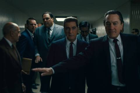 Frank Sheeran (Robert De Niro) is both defender and confidante to Jimmy Hoffa (Al Pacino). &#xa ...
