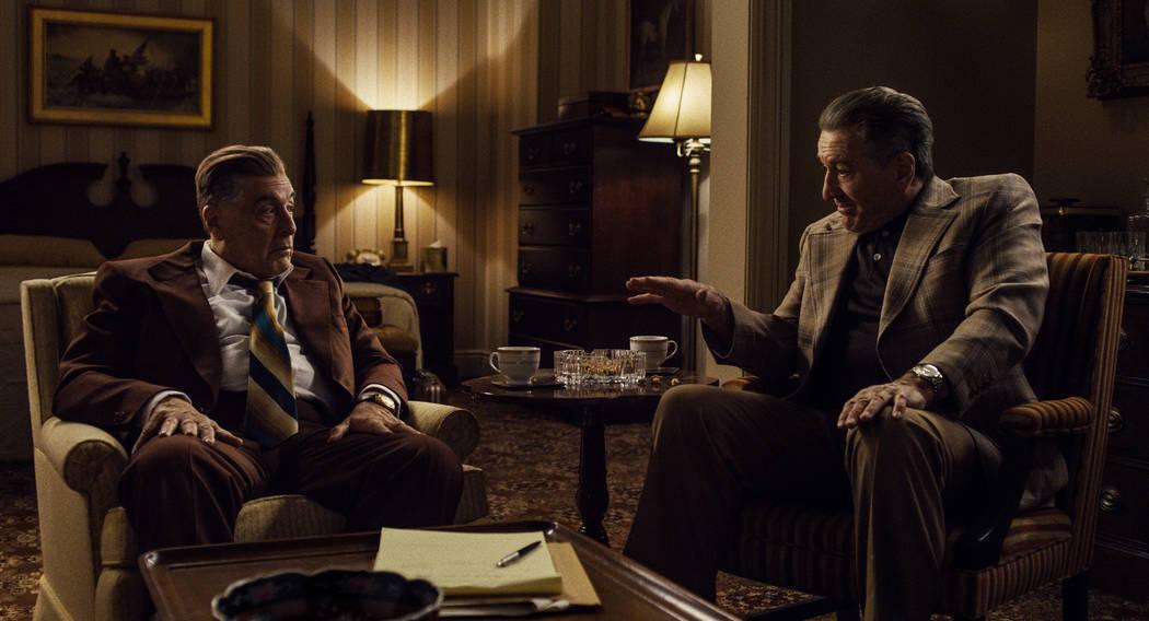 Jimmy Hoffa (Al Pacino) and Frank Sheeran (Robert De Niro) debate Hoffa's next move. &#x ...