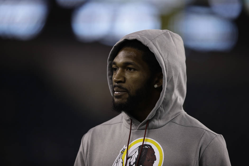 Washington Redskins' D.J. Swearinger warms up before an NFL football game against the Philadelp ...