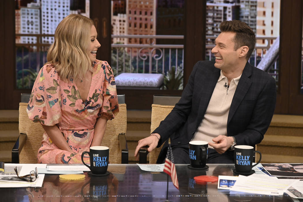 """Kelly Ripa and Ryan Seacrest are pictured during the production of """"Live with Kelly and Ryan"""" i ..."""