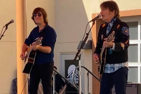 John Fogerty and his son Shane at Veterans Village No. 2 on Monday, November 10, 2019. (John Ka ...