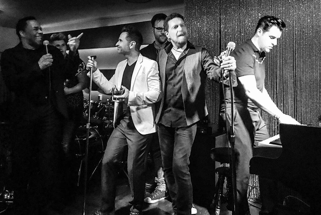 Earl Turner, Travis Cloer, Clint Holmes and Frankie Moreno jam at Rush Lounge at the Golden Nug ...