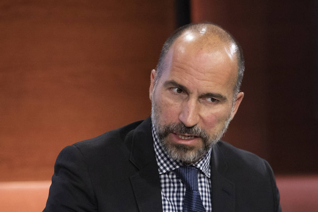 FILE - In this Sept. 25, 2019, file photo Dara Khosrowshahi, CEO of Uber, speaks at the Bloombe ...