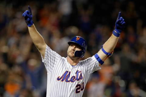 FILE - In this Sept. 28, 2019, file photo, New York Mets' Pete Alonso reacts after hitting a ho ...