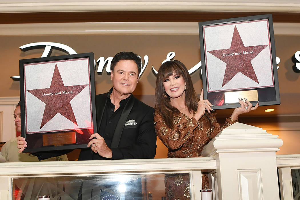 Donny and Marie Osmond receive their star on the Las Vegas Walk of Stars on Friday, Oct. 4, 201 ...