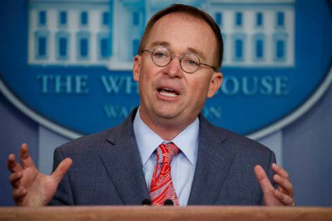 FILE - In this Oct. 17, 2019 file photo, acting White House chief of staff Mick Mulvaney speaks ...