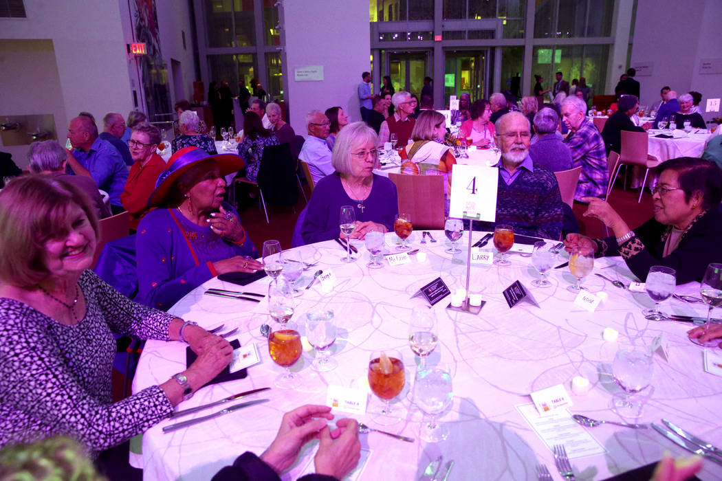 Donna Perkins, from left, Georgie Rucker, Mitzie Hiegel, 67, Larry McAlister, 80, and Eloise Fa ...