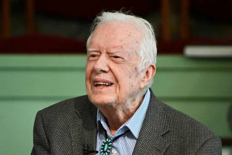 In a Sunday, Nov. 3, 2019, photo, former President Jimmy Carter teaches Sunday school at Marana ...