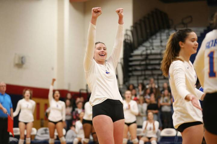 Bishop Gorman's Tommi Stockham (3) reacts after a play against Palo Verde during the second set ...