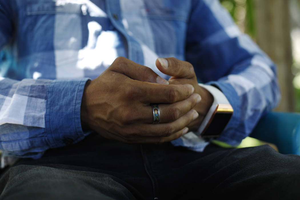 In this Aug. 23, 2019, photo, a Honduran father talks during an interview in Comayagua, Hondura ...