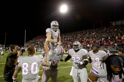 UNLV kicker Nolan Kohorst celebrates after making a 44-yard field goal to beat Hawaii 39-37 at ...
