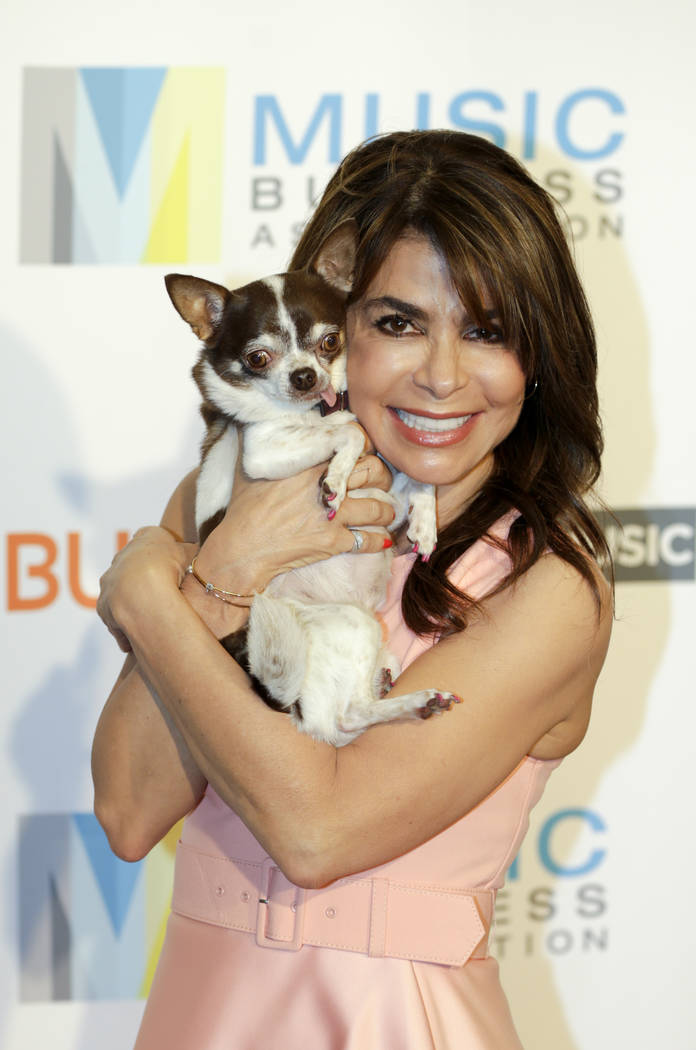Paula Abdul with her dog, Bessiemoo, arrives at 2017 Music Biz - Music Business Artist Awards L ...