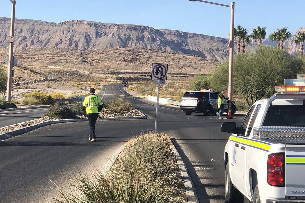 State Route 159 near Red Rock Canyon Recreation Area is closed Thursday morning, Oct. 24, 2019, ...