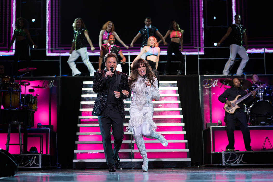 Marie Osmond and Donny Osmond perform in their Las Vegas show at the Flamingo Las Vegas. The du ...