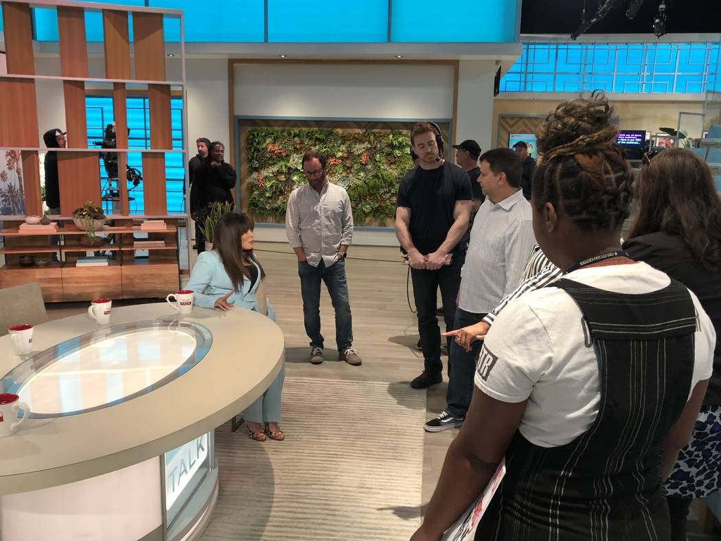 """Marie Osmond is shown with the staff of the CBS daytime show """"The Talk,"""" on Wednesday, Sept. 25 ..."""