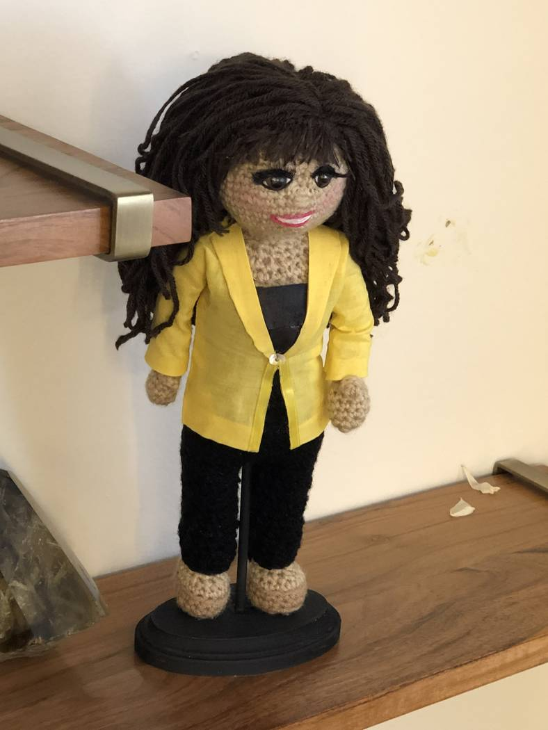 A crocheted Marie Osmond doll given by a fan is shown in Marie Osmond's dressing room on the CB ...