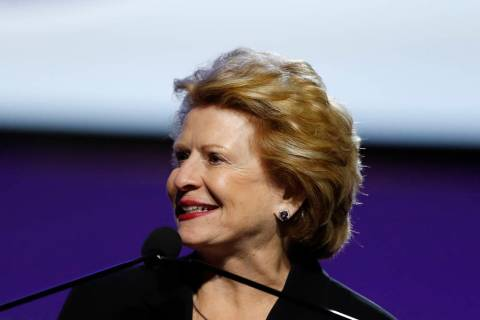 FILE - In this July 22, 2019 file photo, Sen. Debbie Stabenow, D-Mich., speaks in Detroit. Stab ...