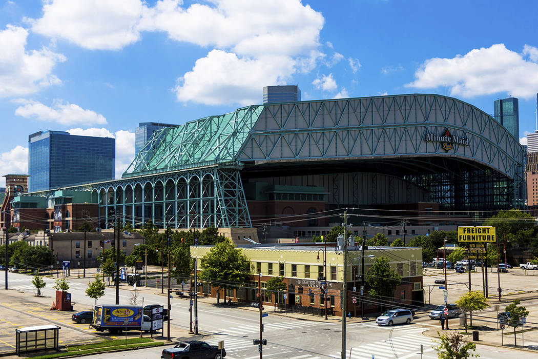 FILE - This Sept. 11, 2016 file photo shows a view of Minute Maid Park in downtown Houston. Maj ...
