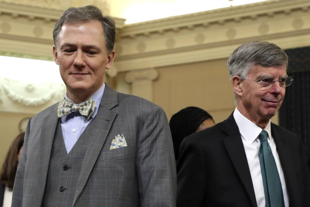 Top U.S. diplomat in Ukraine William Taylor, and career Foreign Service officer George Kent, le ...