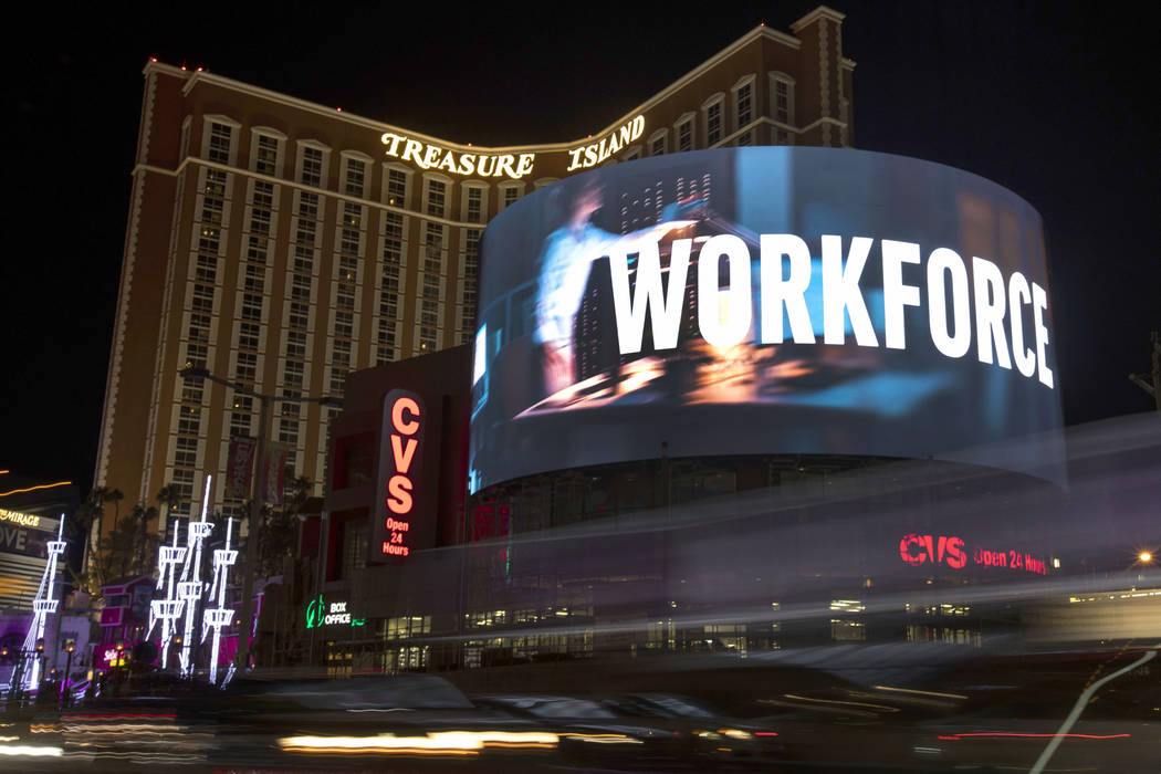 A new LED sign is outside Treasure Island on Tuesday, Nov. 12, 2019, in Las Vegas. (Ellen Schmi ...