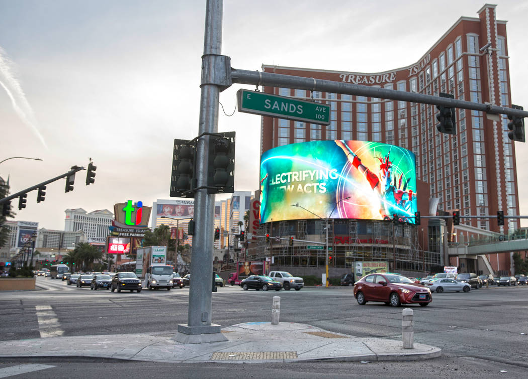 The new TI sign at the corner of West Spring Mountain Road and South Las Vegas Boulevard on Wed ...