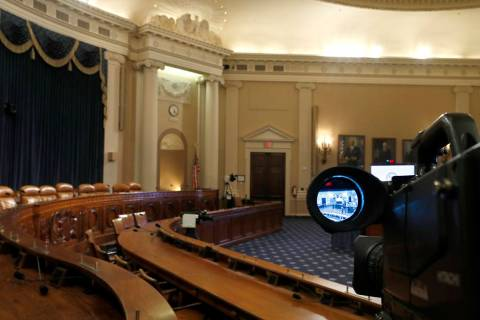 A television camera shows the hearing room where the House will begin public impeachment inquir ...