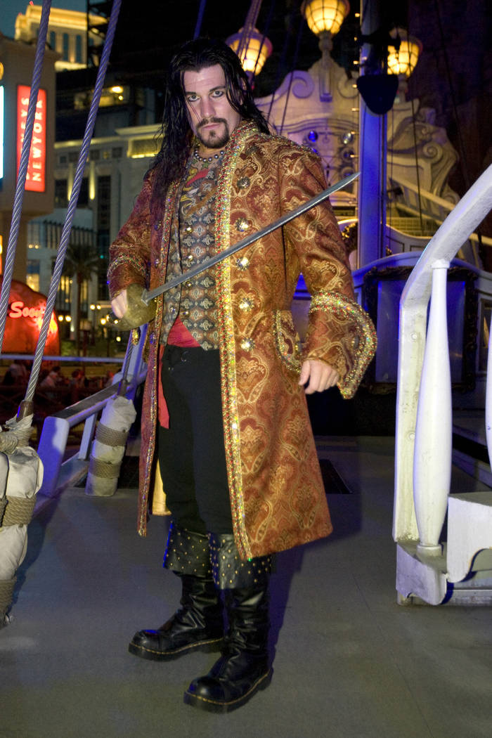 """Jamey Gustafson performs as a pirate in """"Sirens of TI"""" Oct. 23, 2010. (K.M. Cannon/Las Vegas Re ..."""