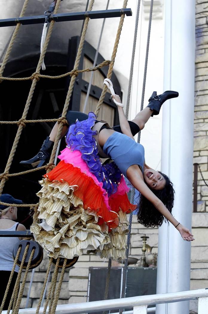 "Siren Amanda Avila rehearses a move for ""Sirens of TI."" (Las Vegas Review-Journal file photo)"