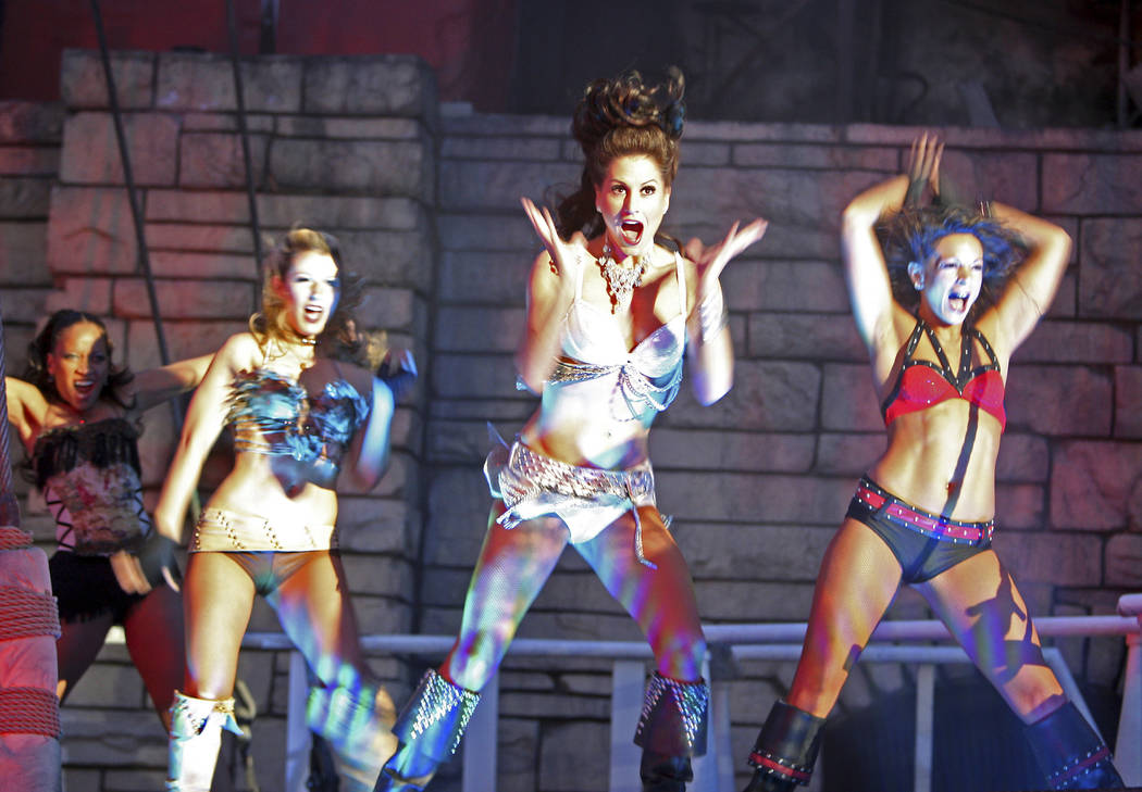 """A quartet of """"The Sirens of TI"""" pirates dance on the deck March 29, 2011 (Las Vegas Review-Jou ..."""