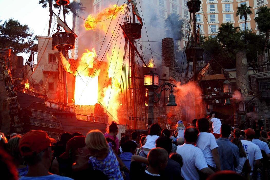 Pyrotechnics were a key feature of Treasure Island's pirate shows.