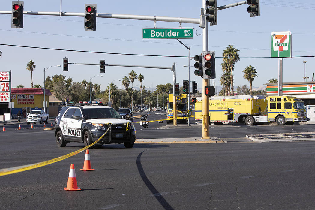 Police block off the scene of a suspected DUI crash on Saturday, Nov. 9, 2019, on East Flamingo ...
