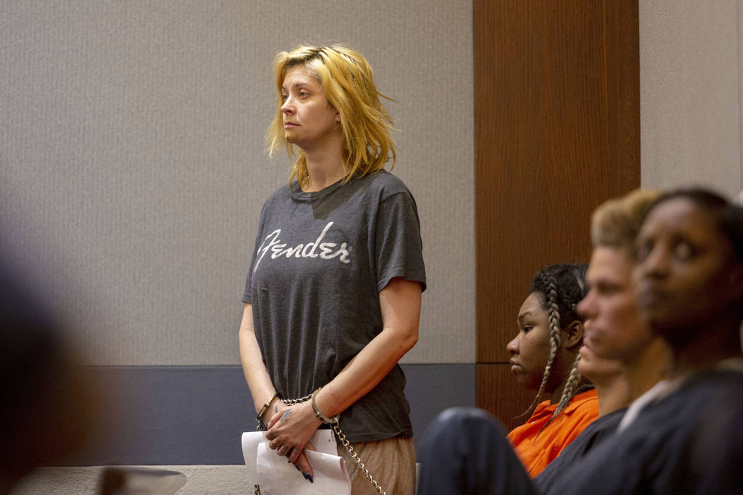 Casandra Garrett appears in court during a hearing at the Regional Justice Center in Las Vegas ...