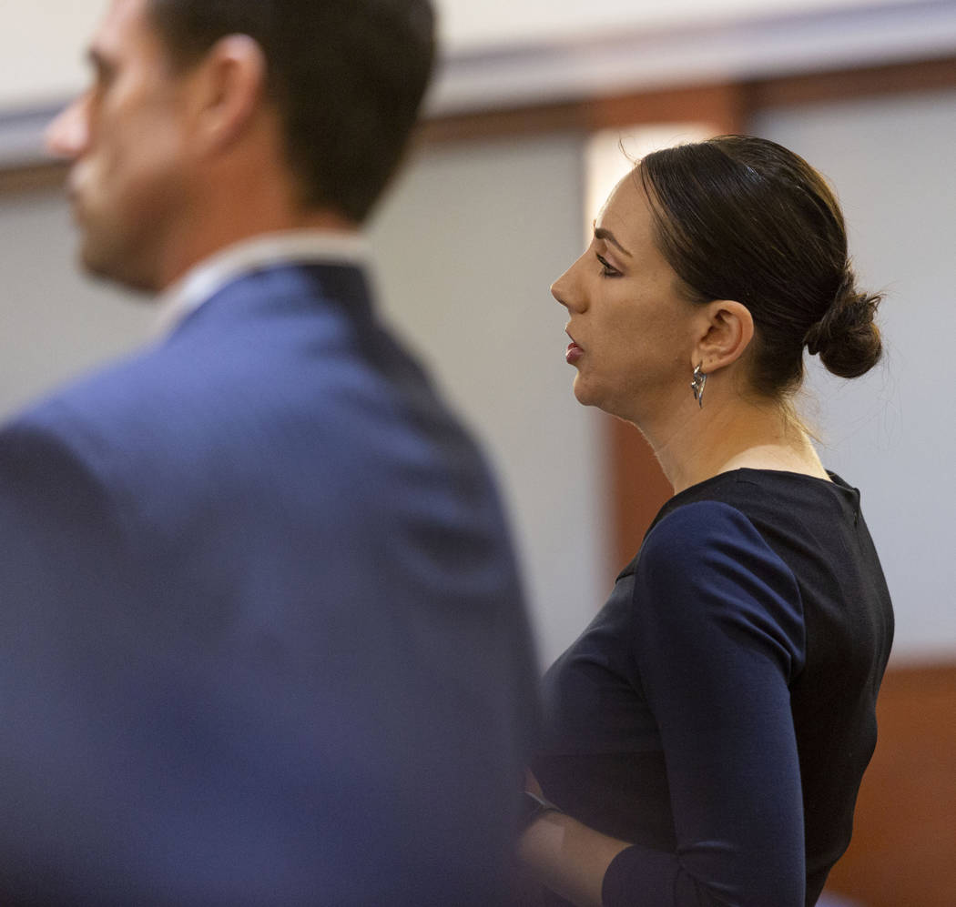 Defense attorney Sarah Hawkins speaks on behalf of Casandra Garrett during a hearing at the Reg ...