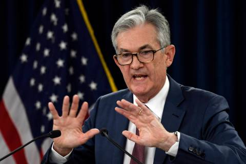 Federal Reserve Chairman Jerome Powell speaks during a news conference in Washington, Wednesday ...