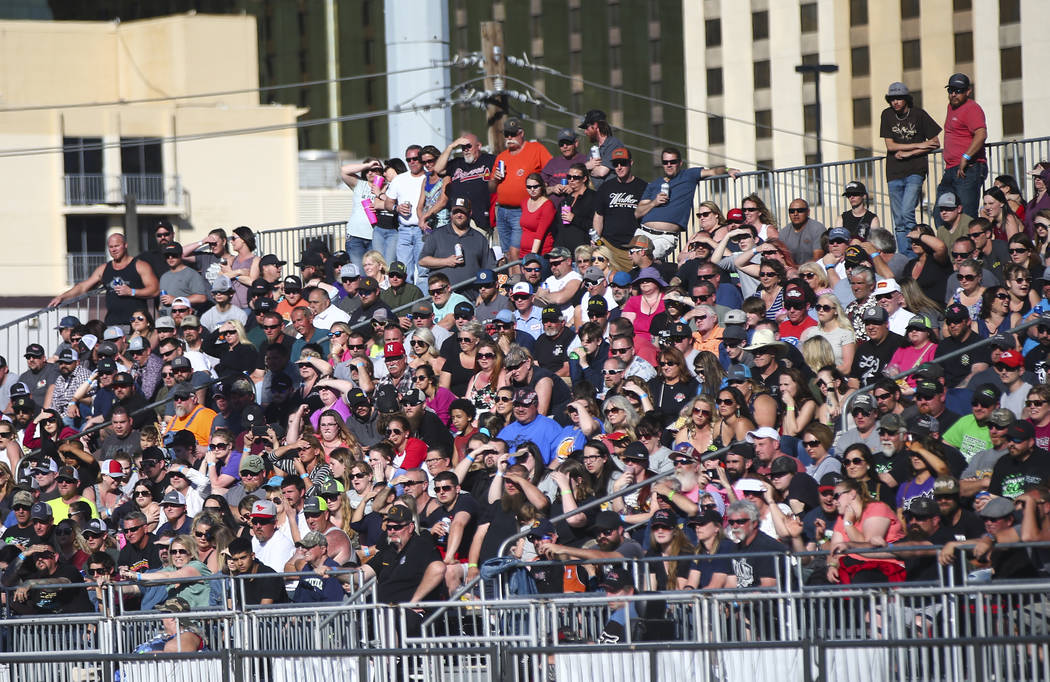 Attendees watch the inaugural Casino Battle Royale Demolition Derby at the Core Arena at the Pl ...