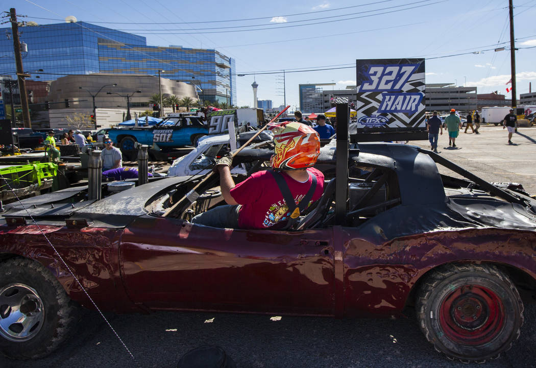 Brian Hair, of Millville, Utah, gets into his car before competing in the inaugural Casino Batt ...