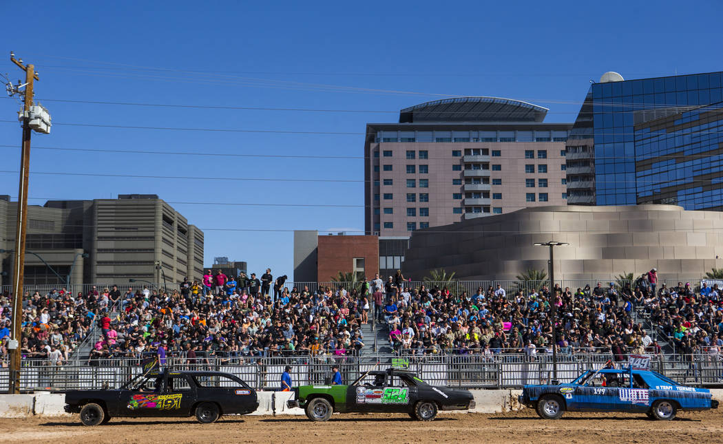 Drivers prepare to compete during the inaugural Casino Battle Royale Demolition Derby at the Co ...