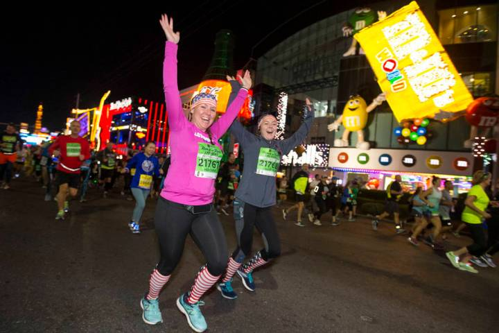 Runners participate in the 2018 Rock 'n' Roll Marathon on the Strip in Las Vegas on Sunday, Nov ...