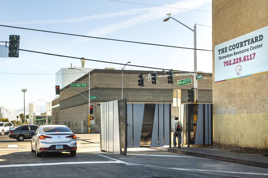 The recently installed gate at Foremaster Lane and Las Vegas Boulevard is pictured on Wednesday ...
